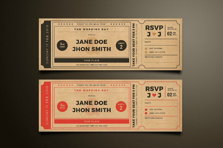 Wedding Invitation Tickets: 20+ Elegant Wedding Invitation Templates