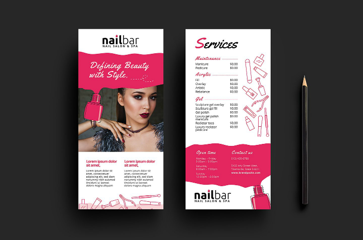 nail salon menu templates arts arts
