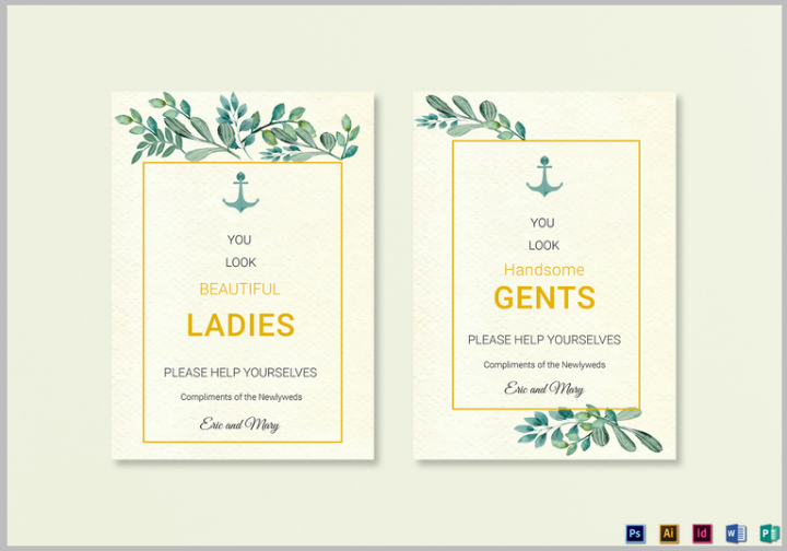 14 Wedding Bathroom Sign Templates Editable Psd Ai Indesign Format Download Free