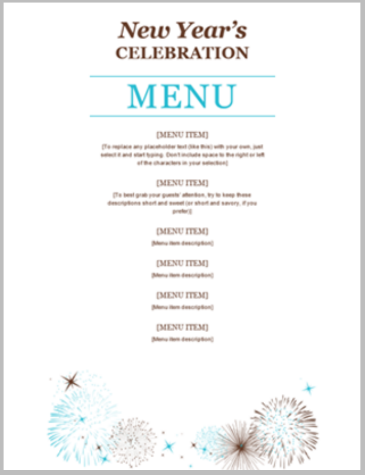 new years party free menu template