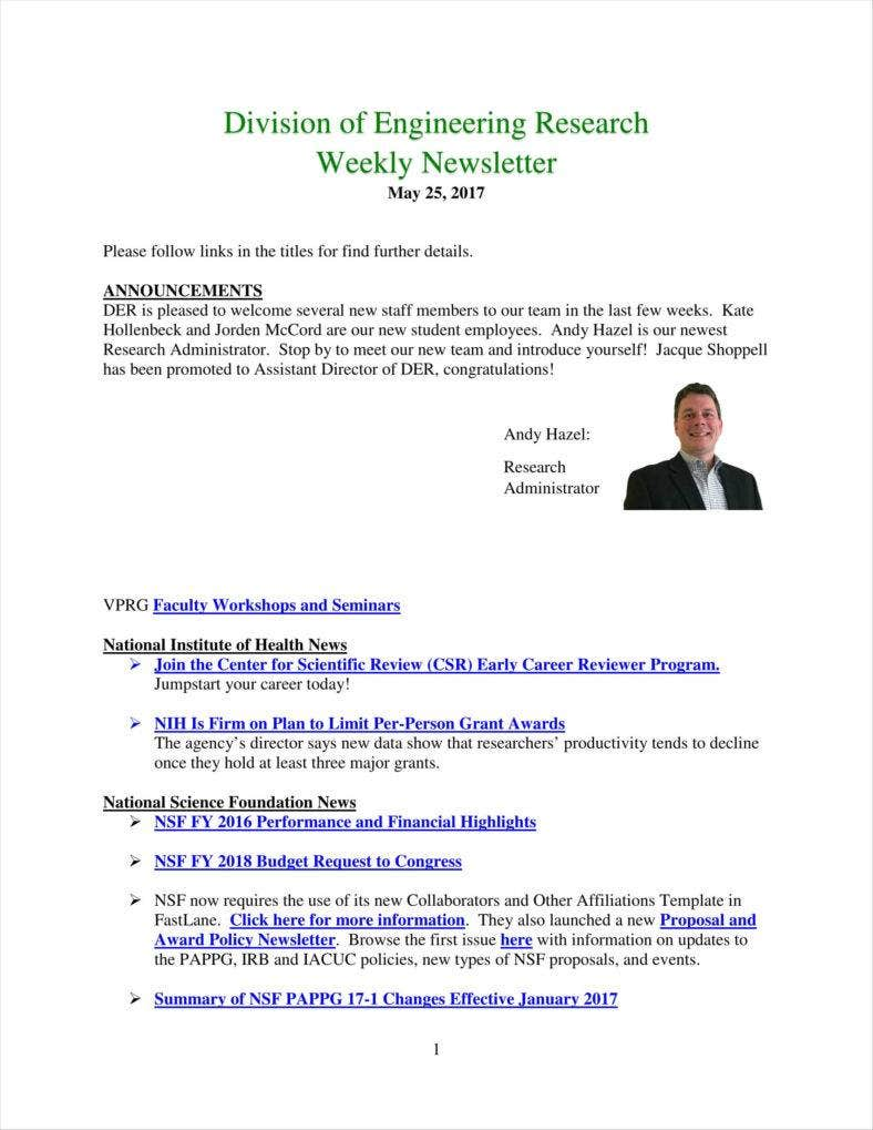9 weekly newsletter templates free pdf doc format download