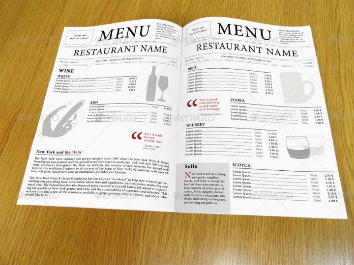 newspaper-style-indesign-menu-template