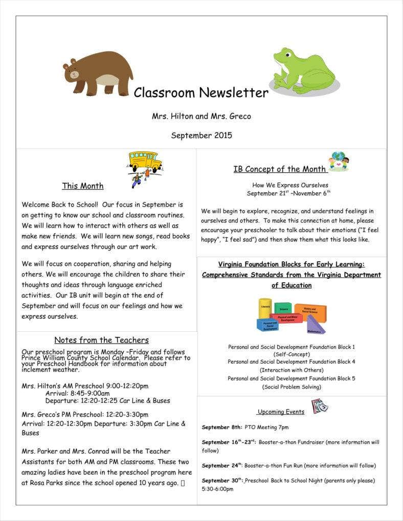 9 Kindergarten Newsletter Templates Free Samples Examples Formats