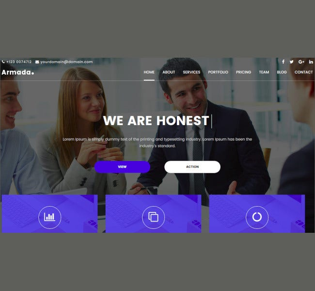 one page multipurpose bootstrap template