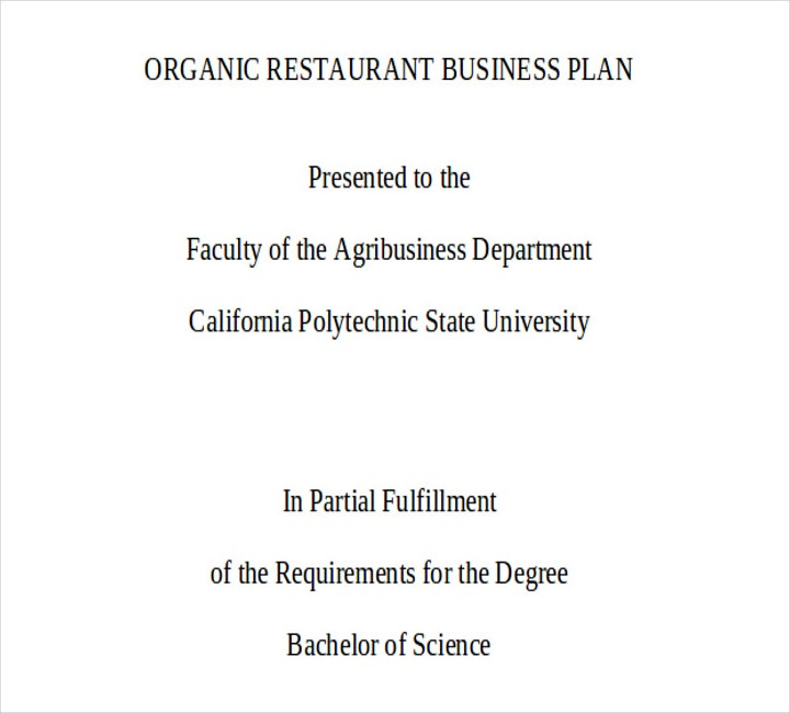 Organic Restaurant Business Plan in PDF