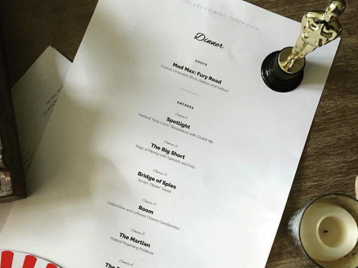 oscars dinner menu design