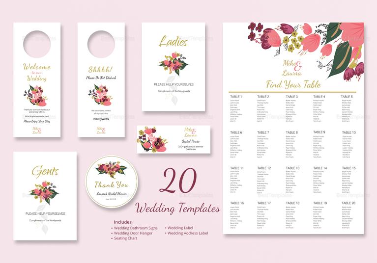 PSD Burgundy Floral Wedding Set