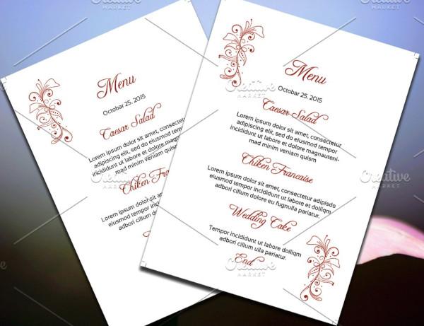 psd wedding menu template