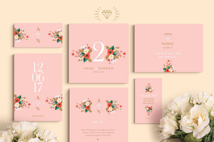 peach-diamond-wedding-template-set