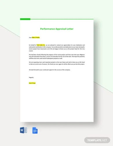 performance appraisal letter template
