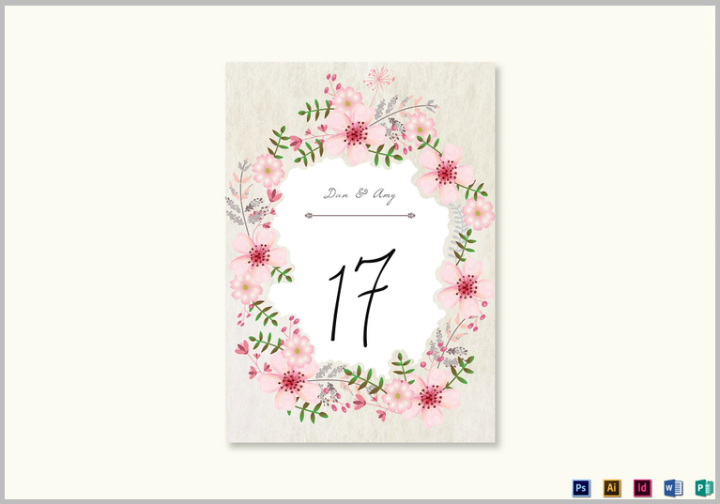 pink-floral-table-card-template