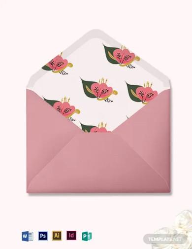 pink floral wedding envelope template