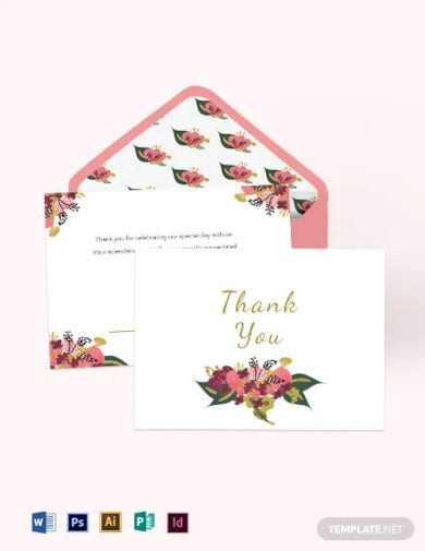 pink floral wedding thank you card template