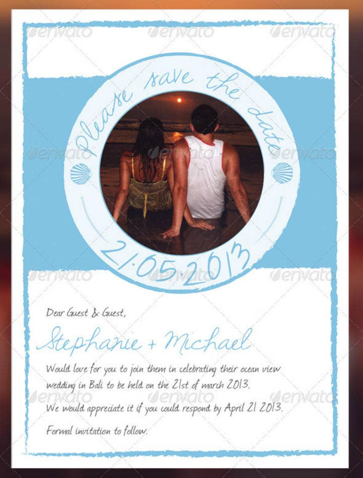 Portrait Beach Save the Date Wedding Template
