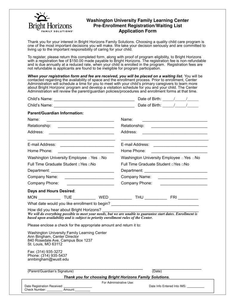 pre enrollmentregistrationform