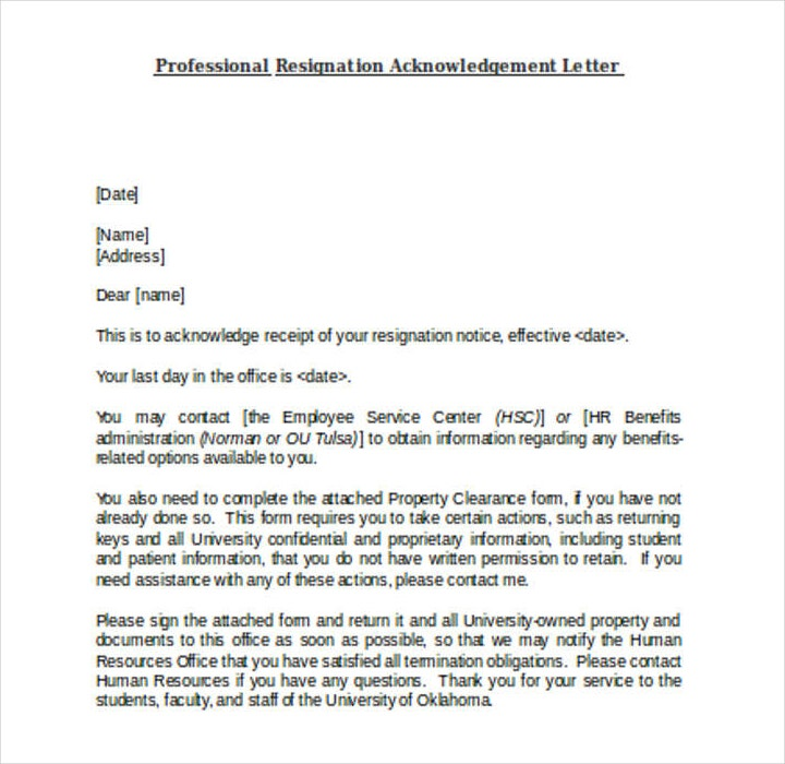10 resignation acknowledgement letter templates