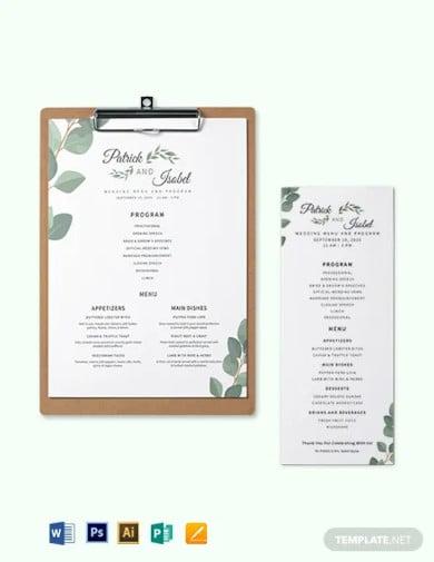 program menu wedding menu template