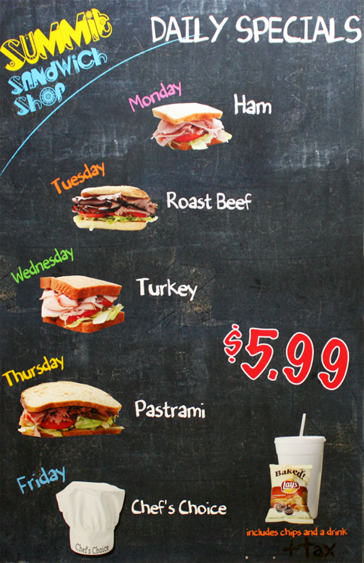 realistic sandwich shop menu design