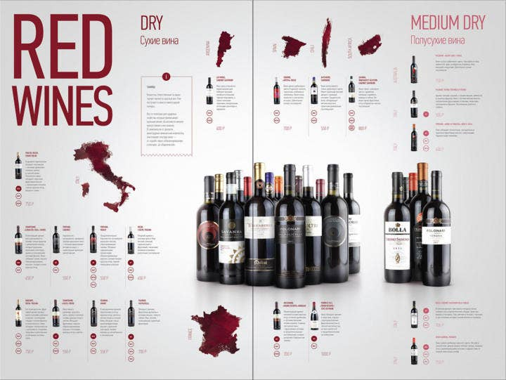 Red Wine Menu Design