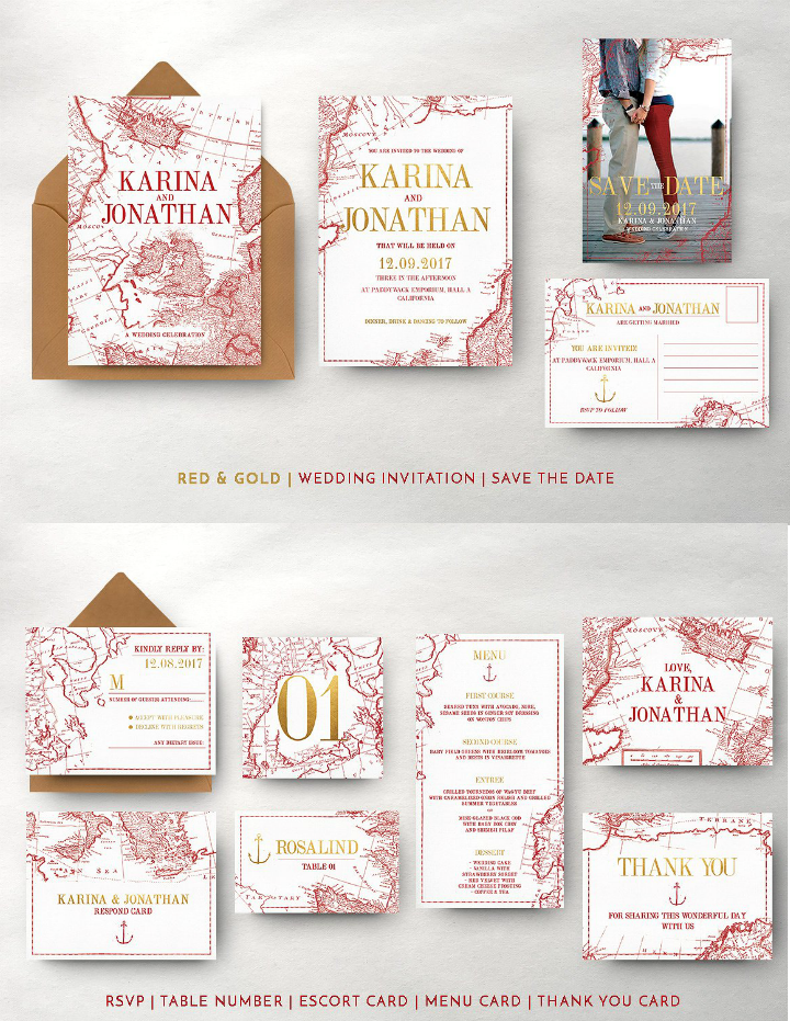 red and gold vintage map wedding invitation template