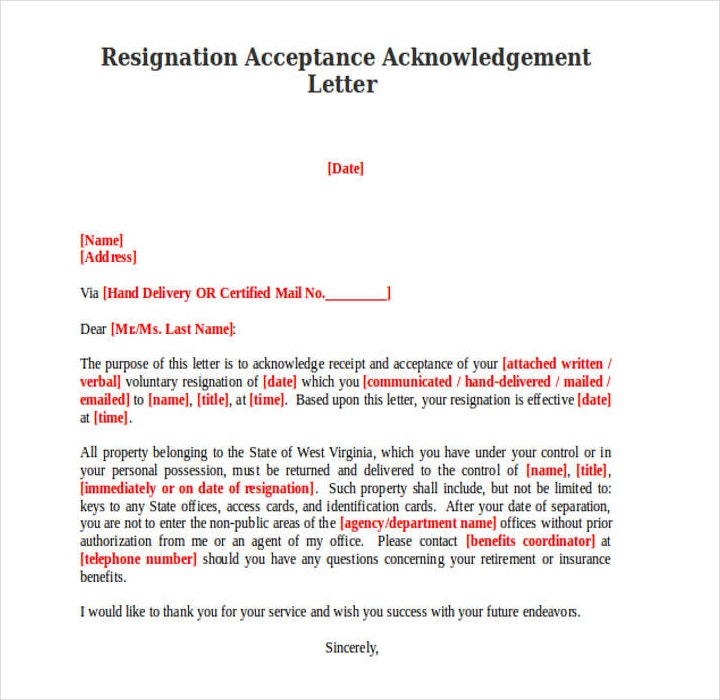 9  resignation acknowledgement letter templates