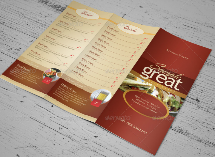 restaurant cafe take out menu design