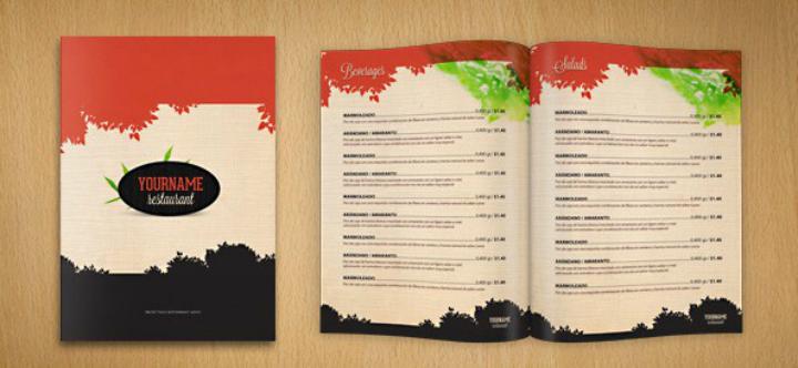 restaurant free menu psd template