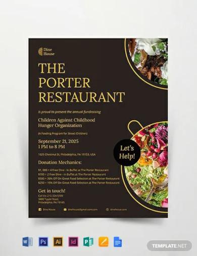 restaurant fundraising flyer template1