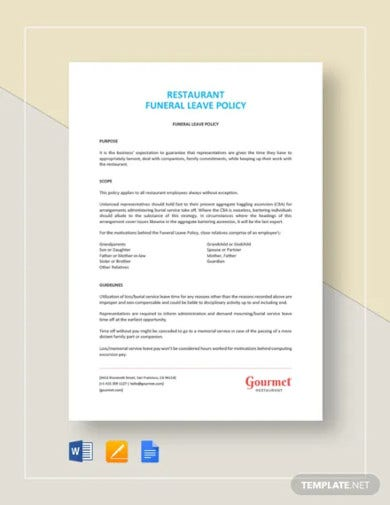 restaurant funeral leave policy template