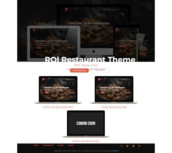 restaurant one page bootstrap theme