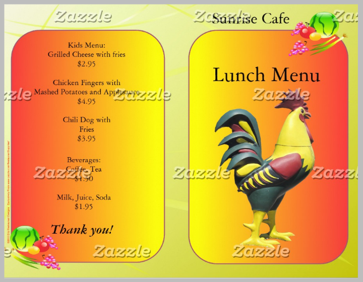 restaurant supplies lunch menu design