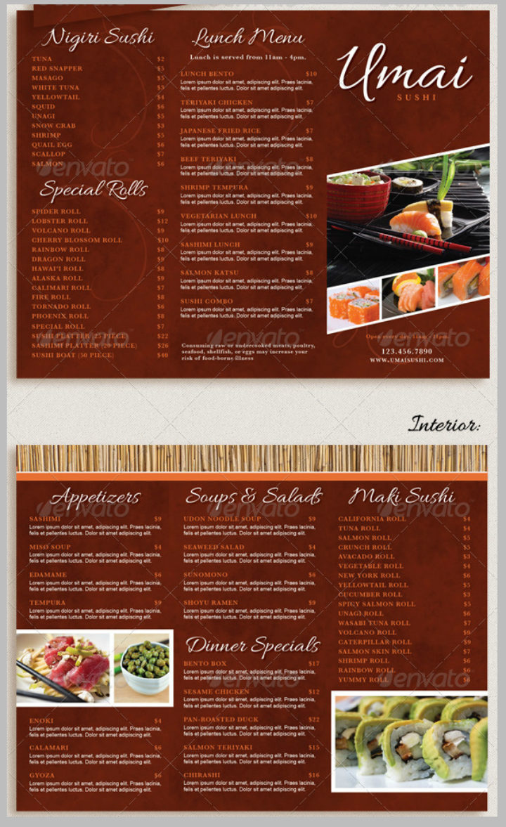 Restaurant Tri Fold Takeout Menu Design