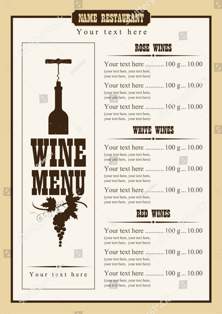 15  wine menu designs
