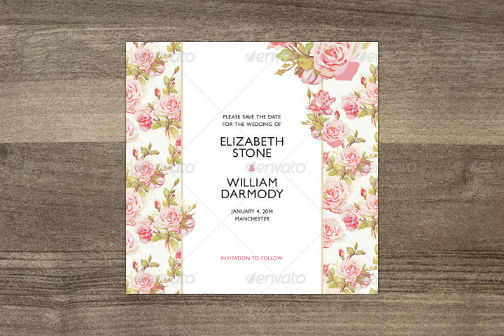 romantic floral save the date wedding template