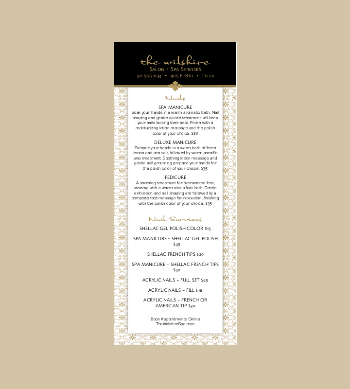 Salon Services Tri Fold Menu Template