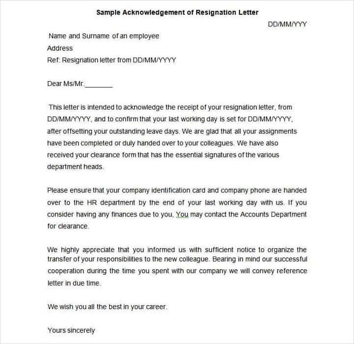 9 resignation acknowledgement letter templates pdf word free 9 resignation acknowledgement letter templates pdf word free premium templates spiritdancerdesigns Gallery