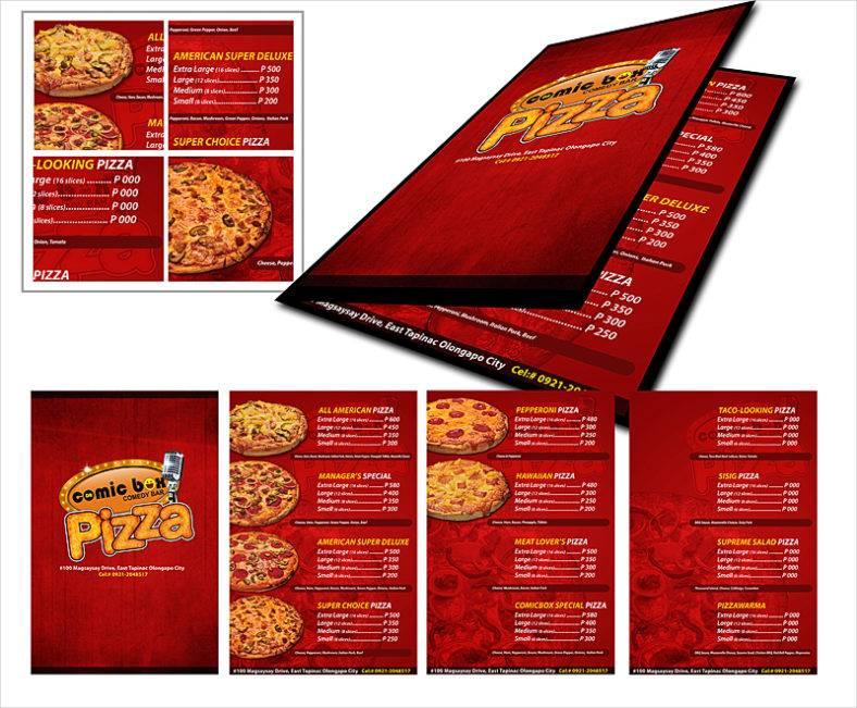 Sample Pizza Menu