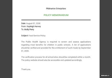 sample policy memo template