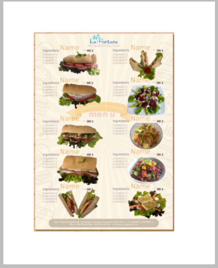 sandwich and salad menu design template