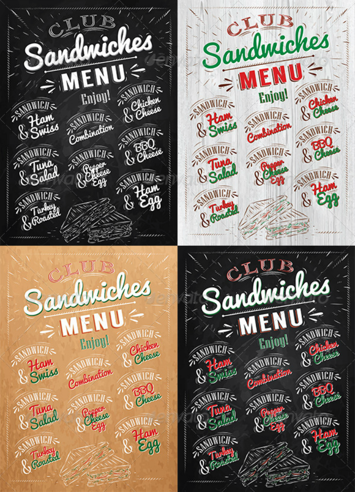 sandwiches menu design set