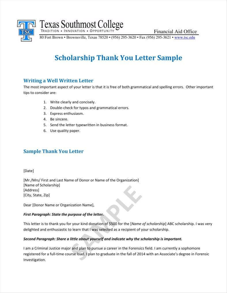 free letter format 9 donation acknowledgment letter templates free word pdf 21853 | Scholarship Thank You Letter Sample 1 788x1019