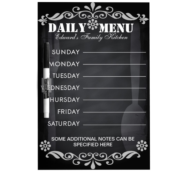 spoon and fork menu chalkboard template
