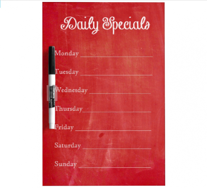 red chalkboard menu template