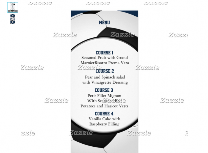 soccer menu template