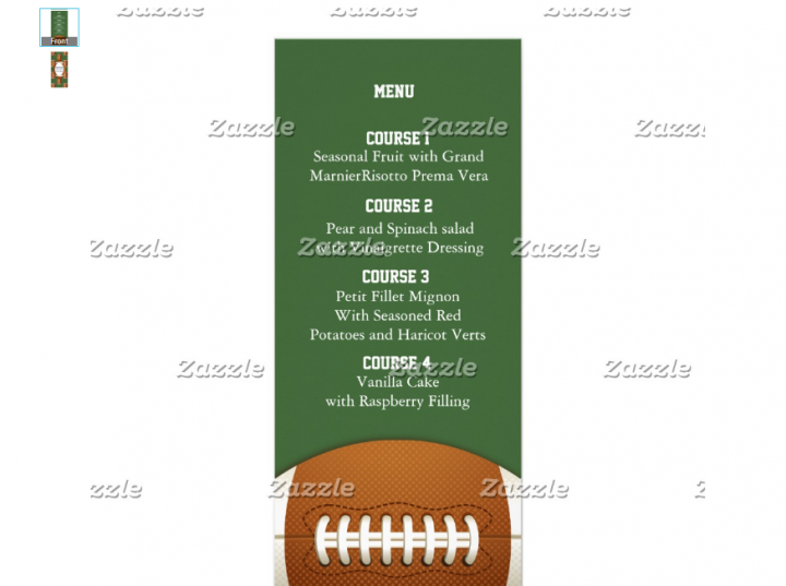 american football menu template