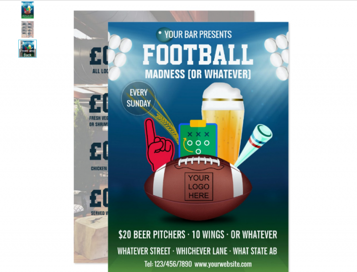 football fan menu template
