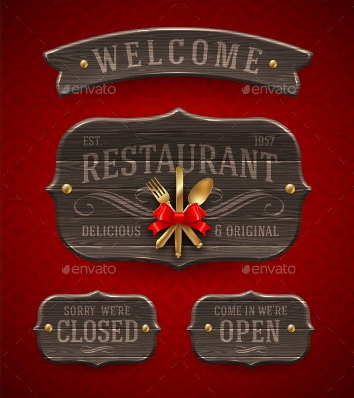 set of vintage wooden restaurant signs with decor and golden cutlery 590