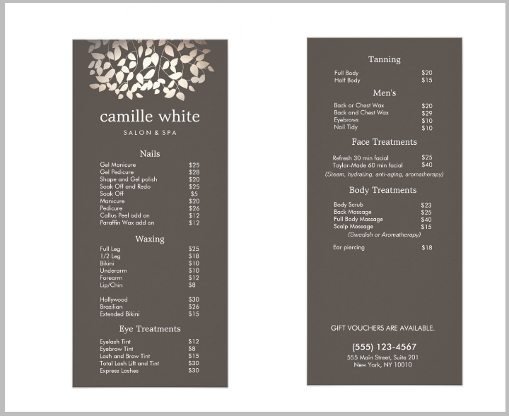 massage price list template - hair salon service menu template 14 salon menu templates