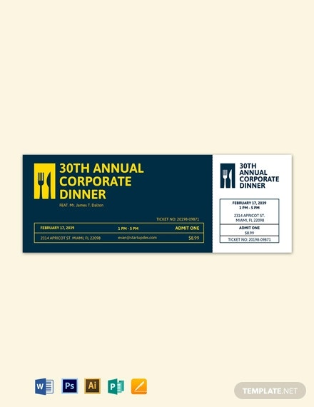 simple dinner ticket template