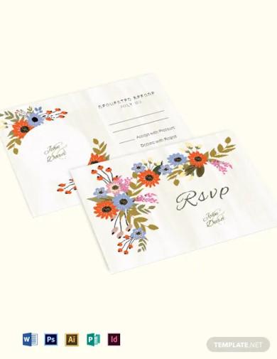 small flower wedding rsvp card template